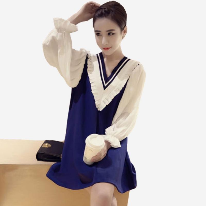 學院風寬鬆V領拼接式荷葉邊長袖洋裝   [湛藍 黑] 兩色售
