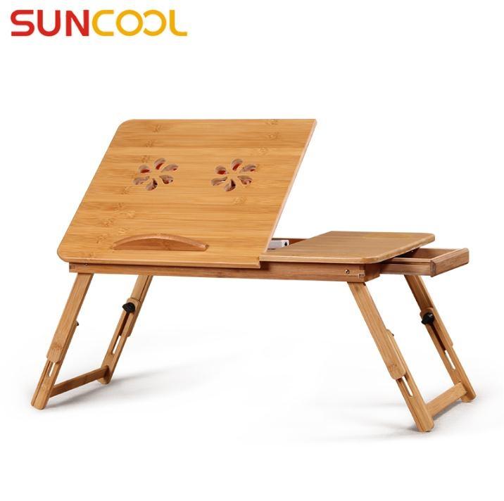 陽光谷 床上筆電桌折疊筆記本支架懶人桌 竹子筆記本散熱架