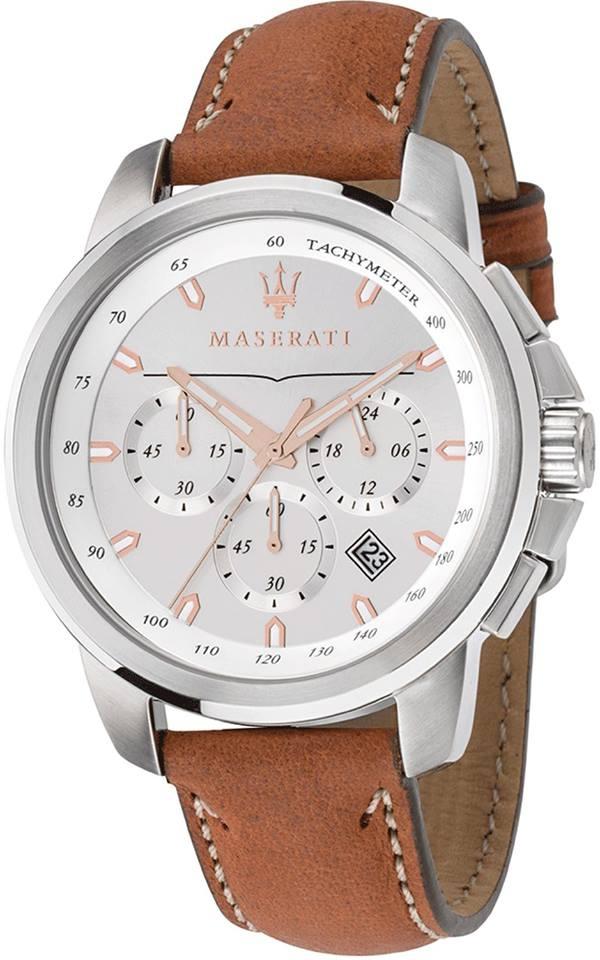 MASERATI WATCH-瑪莎拉蒂手錶-三眼優雅白款皮-R8871621005錶現精品公司-原廠正貨-鏡面保固一年