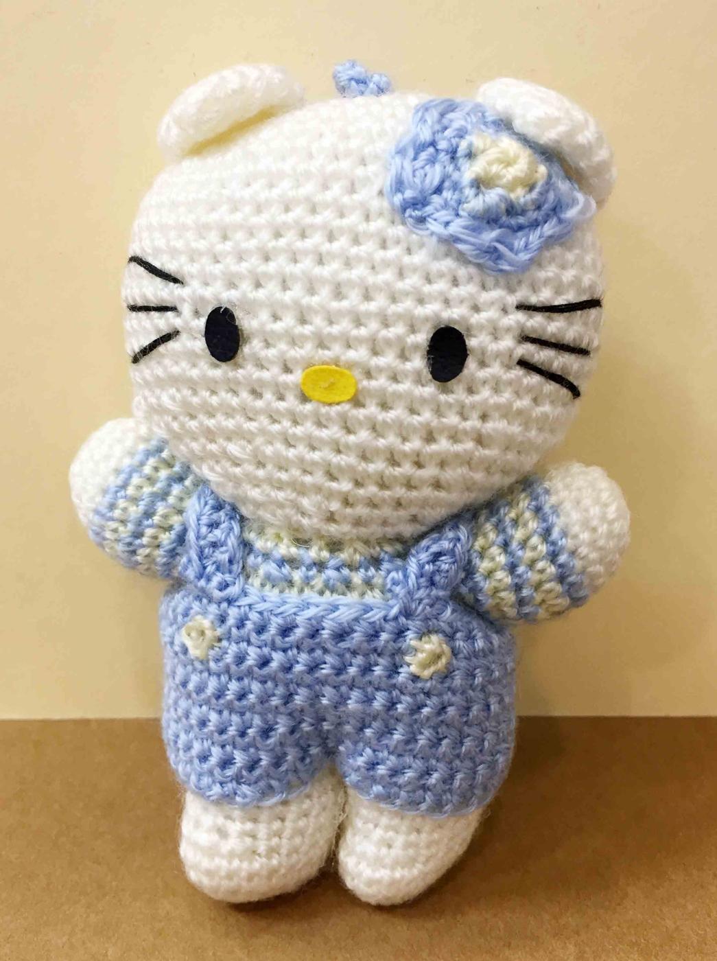 【震撼精品百貨】Hello Kitty 凱蒂貓~HELLO KITTY絨毛吊飾-kitty針織材質-藍色
