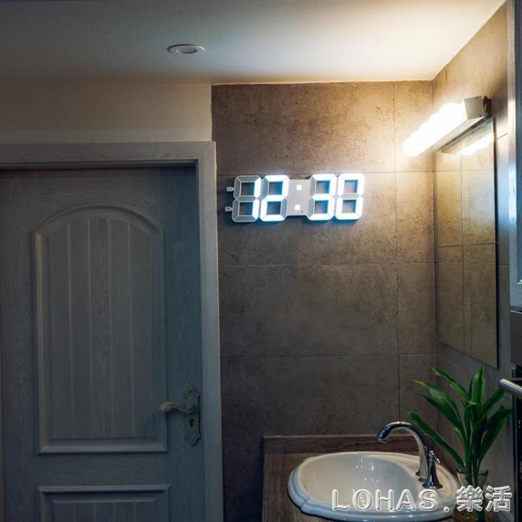 萬年歷led電子鐘客廳簡約現代創意時鐘多功能大數字夜光靜音掛鐘igo樂活生活館