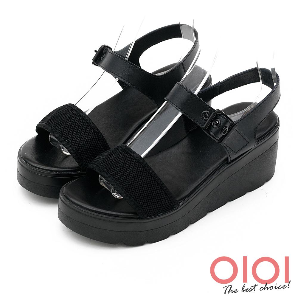 楔型涼鞋 率性自我一字楔型涼鞋(黑) *0101shoes 【18-755bk】【現+預】