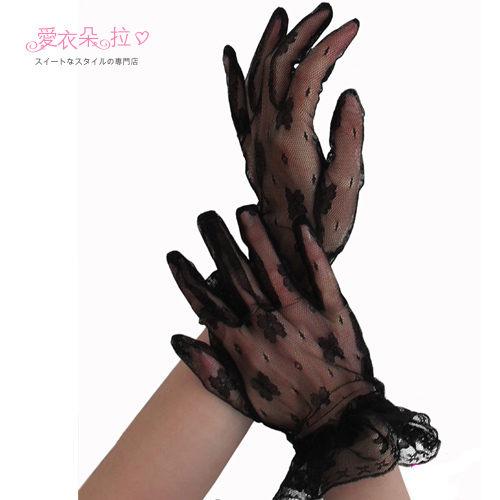 蕾絲手套 黑色短手套 半透明夢幻逸品 材質柔軟細緻- 愛衣朵拉