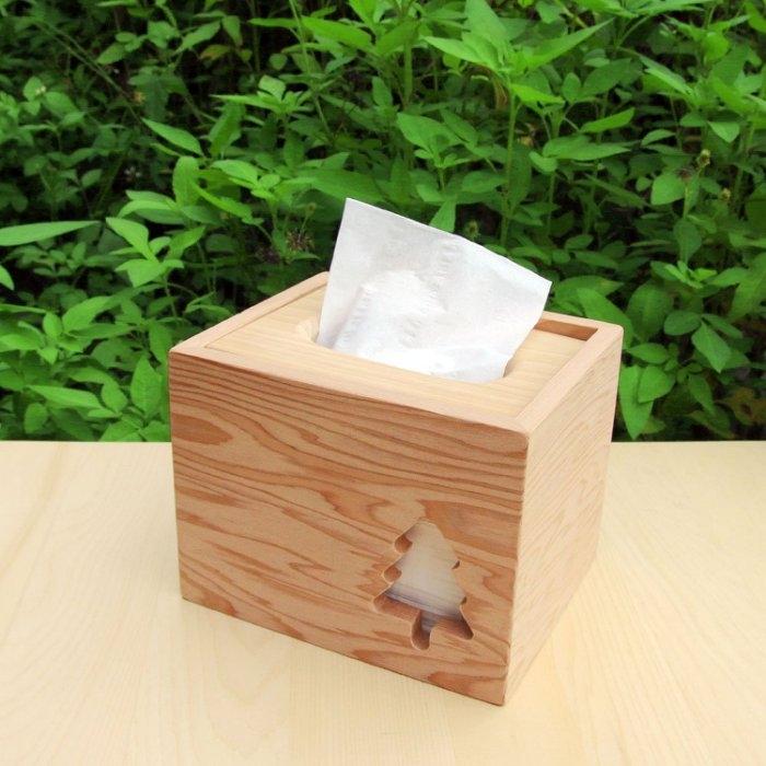 木樂館原木台檜小樹方形衛生紙盒台灣檜木活動式面紙盒木盒置物盒居家雜貨