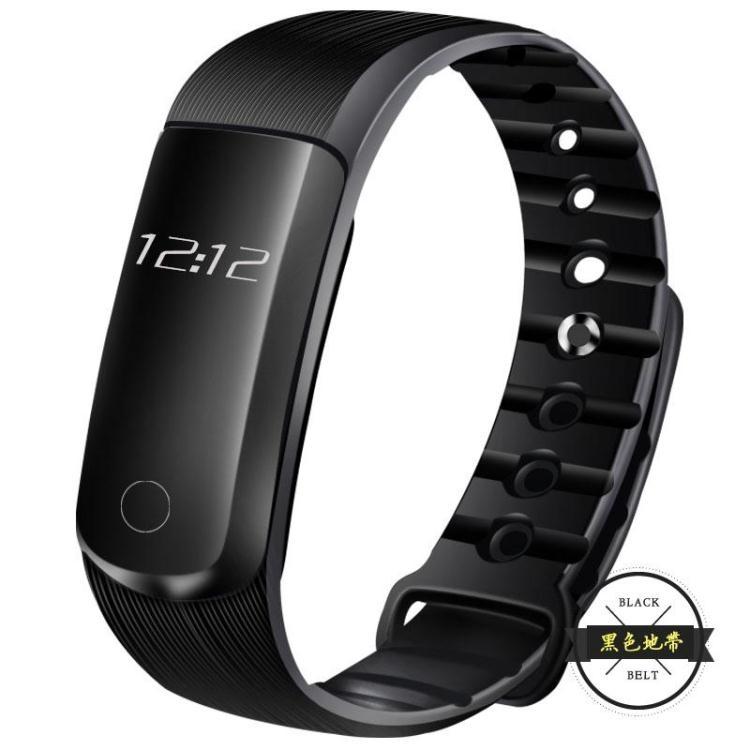 大顯智能手環心率血壓監測計步防水運動手表安卓蘋果小米2華為3~黑色地帶