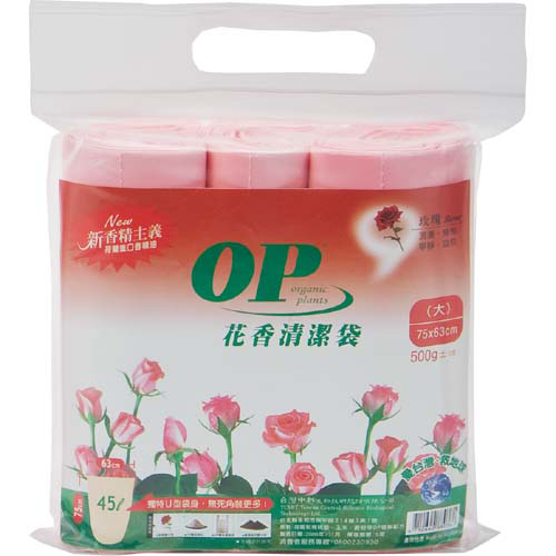OP花香清潔垃圾袋-玫瑰(大)75*65cm【愛買】