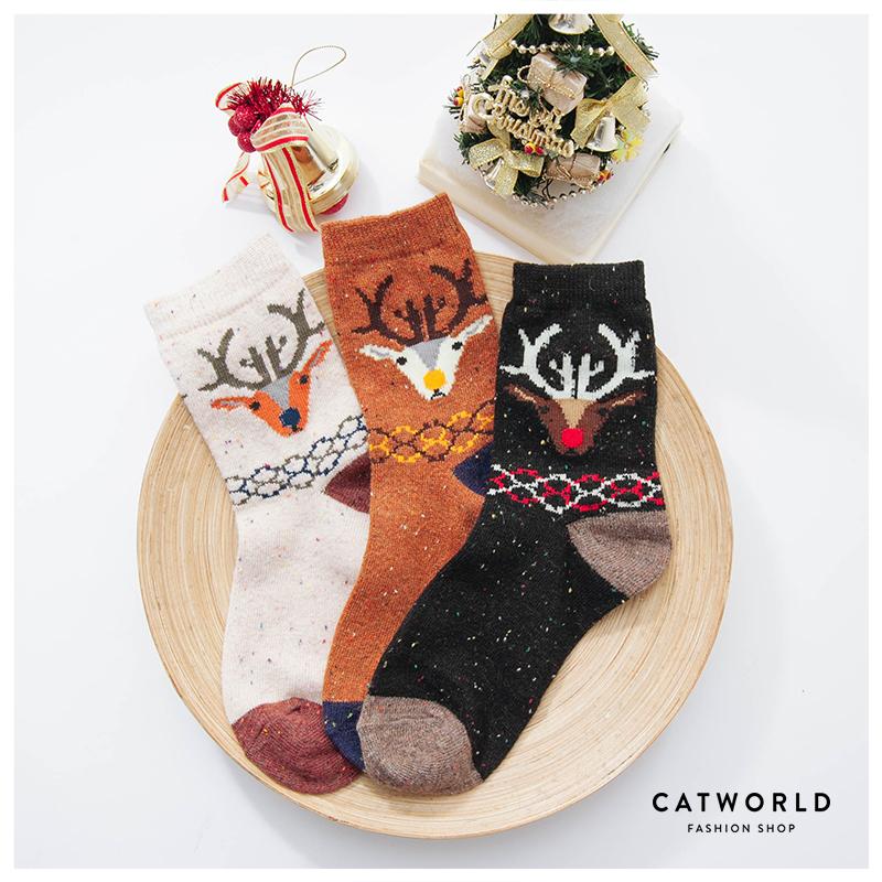Catworld 麋鹿點點兔羊毛混紡長襪【18900068】‧F