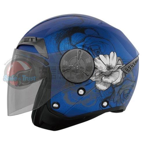 中壢安信THH T-314SP T314彩繪薔薇平光寶藍半罩安全帽內遮陽鏡片
