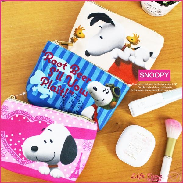 史努比正版SNOOPY帆布化妝包票卡夾零錢包鉛筆袋B01784
