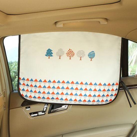 慢思行Q249童趣印花磁性遮陽布可摺疊汽車防透視窗簾防曬降溫紫外線