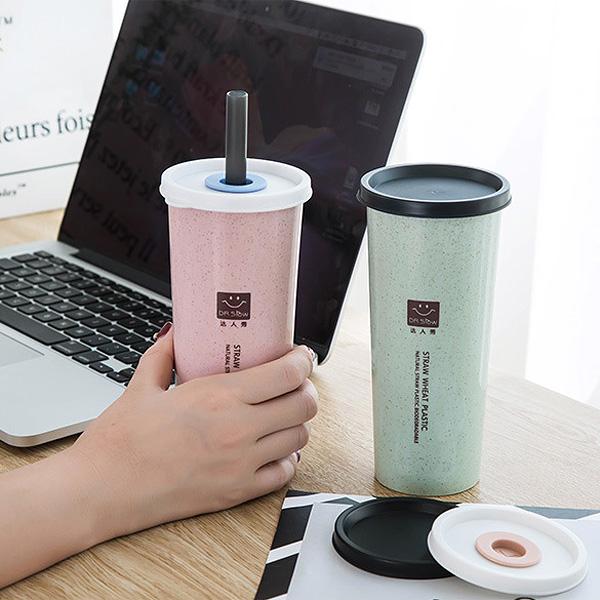 杯具人生2件5折BlueCat環保小麥粒麥香雙蓋珍珠吸管杯水杯水壺450ml