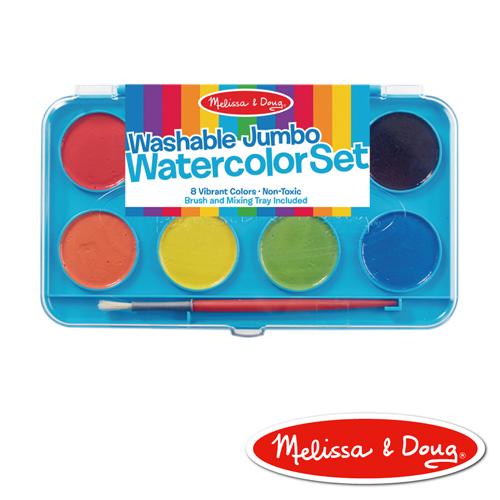 美國瑪莉莎Melissa Doug美勞創意大容量水彩粉餅顏料8色