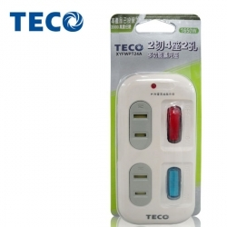 TECO-東元  2切4座2孔 擴充座 (XYFWPT24A)