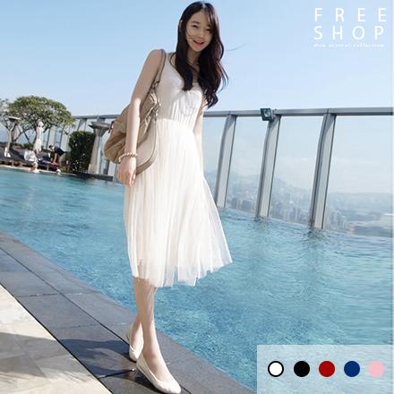 Free Shop 蕾絲網紗背心內搭洋裝連身裙 純色中長顯瘦款【QCCJD1001】