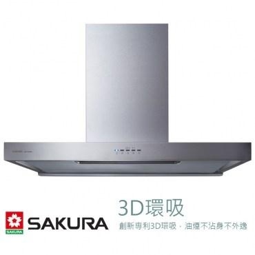 櫻花SAKURA歐化除油煙機渦輪變頻3D環吸系列W90CM DR7786ASXL不鏽鋼