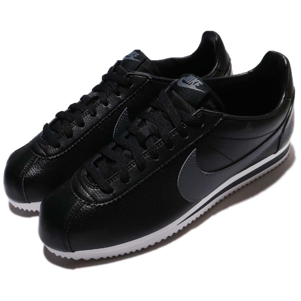 Nike阿甘鞋Classic Cortez Leather黑灰白底皮革男鞋女鞋經典款復古慢跑鞋PUMP306 749571-011
