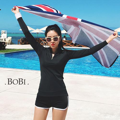 泳裝比基尼泳衣拉鏈運動防曬長袖泳裝溫泉泳衣SF1704X-3 BOBI 11 24