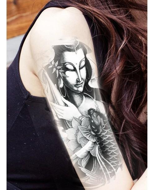 薇嘉雅  美女 環臂圖案紋身貼紙 AX153