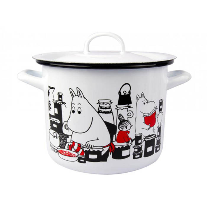 芬蘭Muurla嚕嚕米琺瑯燉鍋含蓋3.5公升白色湯鍋
