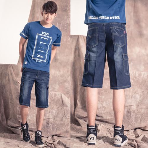 牛仔短褲.簡約多口袋設計工作褲