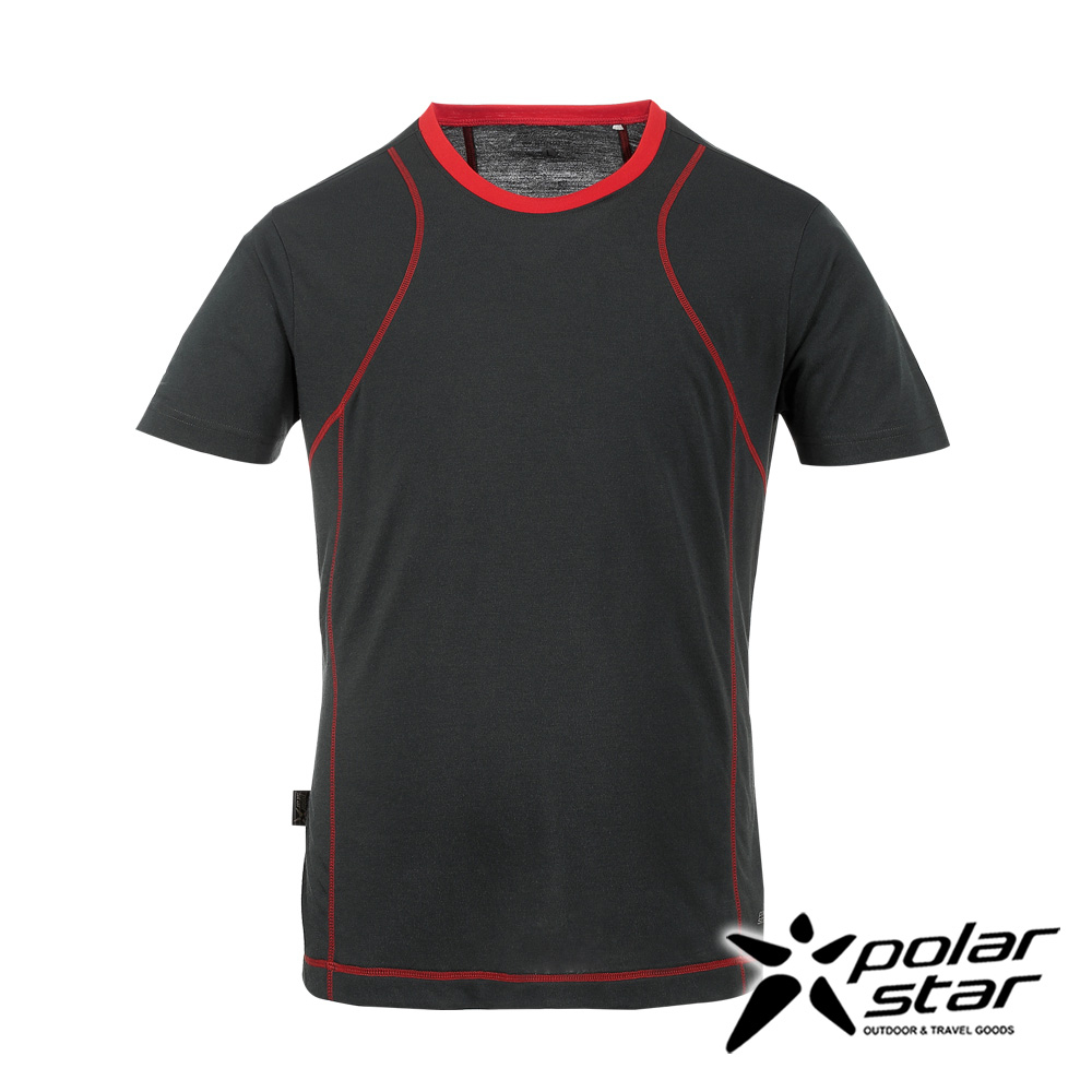 PolarStar男排汗快乾圓領T恤炭灰P17131吸濕排汗透氣T-shirt短袖運動服瑜珈休閒服短袖透氣