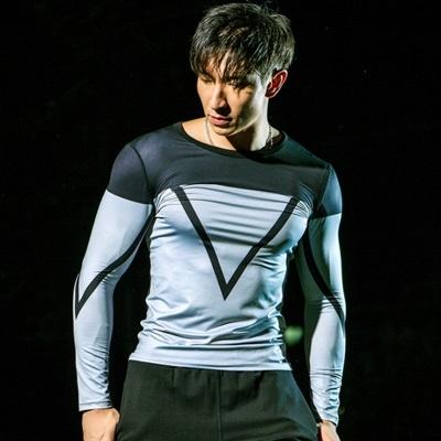 健身緊身衣-戶外訓練速乾透氣男長袖運動服73np20時尚巴黎