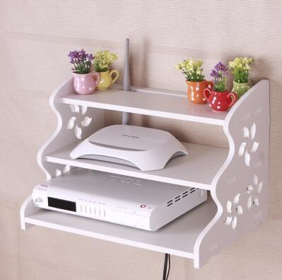 創意牆上電視機頂盒架免打孔置物架客廳路由器收納盒壁掛臥室隔板雕花三層