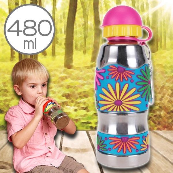 美國i.d.gear兒童水壺不鏽鋼幼童水瓶水杯-絢爛煙火480CC B-2MST038