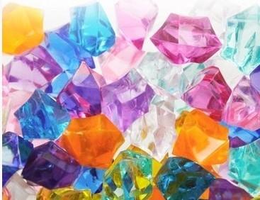 協貿國際魚缸造景石彩色水晶鑽水養植物瓶內裝飾亞克力水晶石水培塑料石頭200顆入