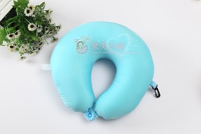淺藍色 奈米微粒(粒子) U型枕 午睡枕 護頸枕 車用靠枕 午安枕 U型枕頭 抱枕 【聚美小舖】