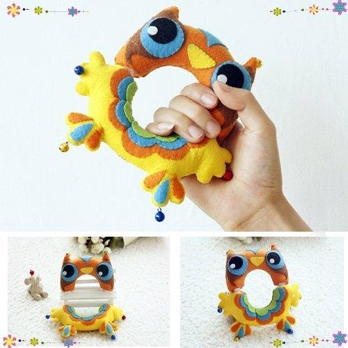 玩具五彩貓頭鷹搖搖樂兒童玩具親子益智玩具不織布手工DIY材料包