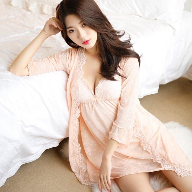 La Luna精品睡衣性感睡衣新款-性感優雅星光粉橘緹花蕾絲網紗吊帶睡裙睡袍兩件套裝