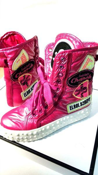 卡樂store.防水布中筒靴中筒靴增高厚底yyms267-2粉紅