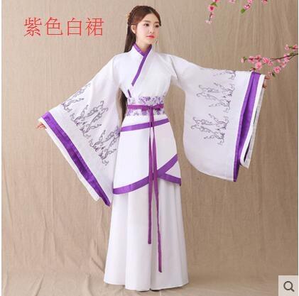 熊孩子漢服女2017新款改良古裝襦裙主圖款7紫色白裙