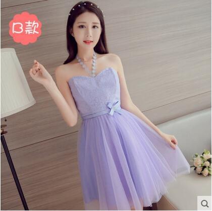 熊孩子韓式伴娘服夏新款主圖1紫色短款