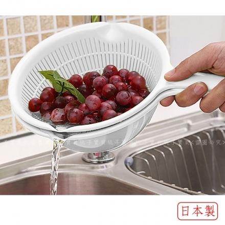 【日本SANADA】SEIKO 單柄球型蔬果清洗籃/洗米盆(白色)~20cm‧日本製✿桃子寶貝✿