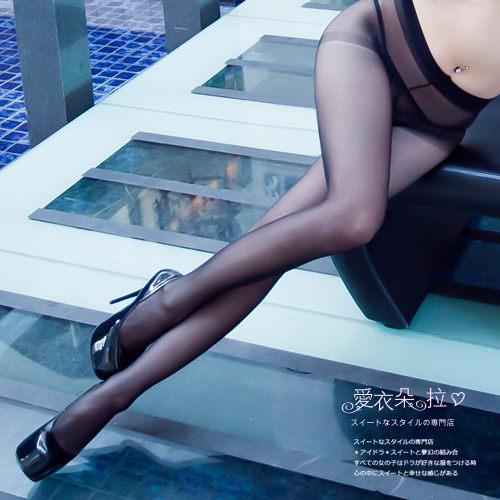 黑色絲襪 全透明褲襪 顯瘦透膚褲襪 腰部以下全透明 黑色/膚色- 愛衣朵拉