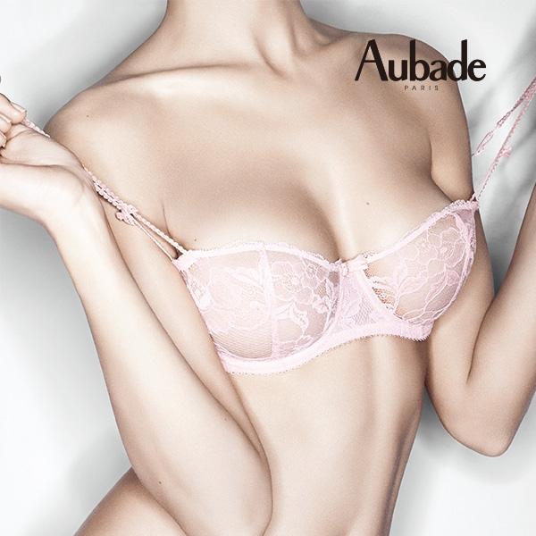 Aubade-巴黎戀人B-E縷空蕾絲薄襯內衣嫩粉橘EG