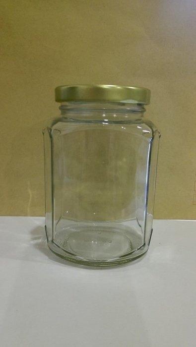金蓋390CC六角扁瓶RP84果醬瓶收納容器醬菜瓶玻璃瓶玻璃罐醬瓜瓶果醬罐