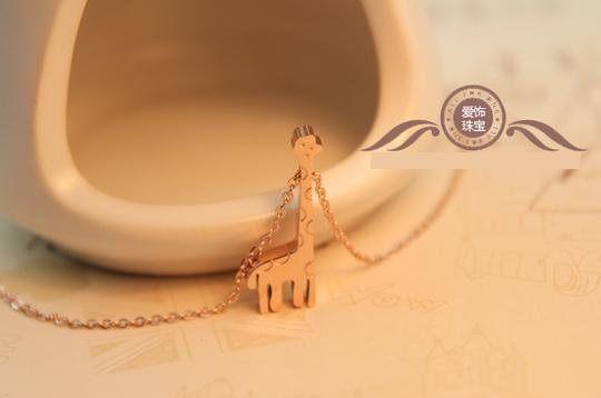 長頸鹿鈦鋼鍍彩金玫瑰毛衣鏈