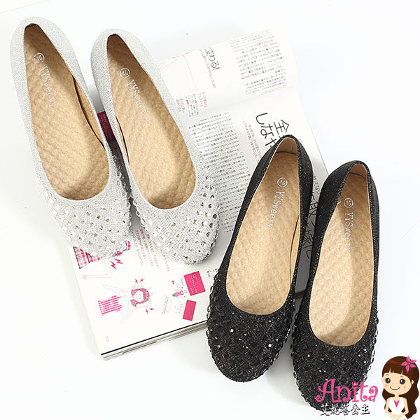 艾妮塔公主。中大尺碼女鞋。高雅韓版熣燦娃娃鞋 共2色。40~46碼 (D528)