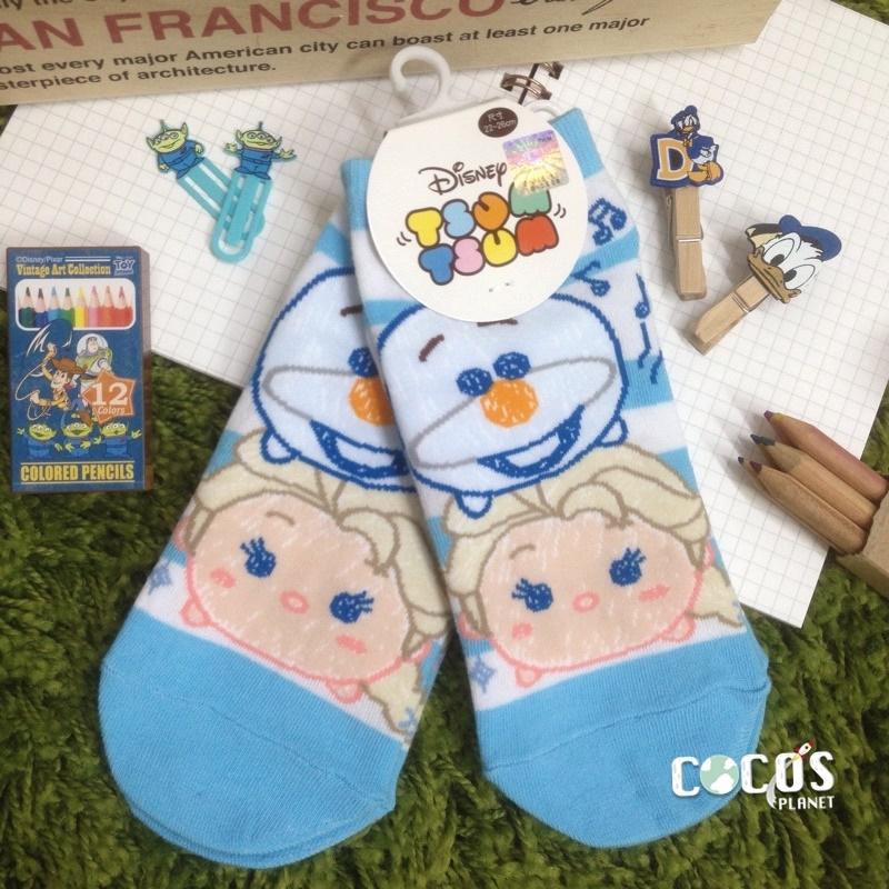 迪士尼TSUM TSUM疊疊樂冰雪奇緣雪寶艾莎短襪造型襪襪子直版襪COCOS JI039