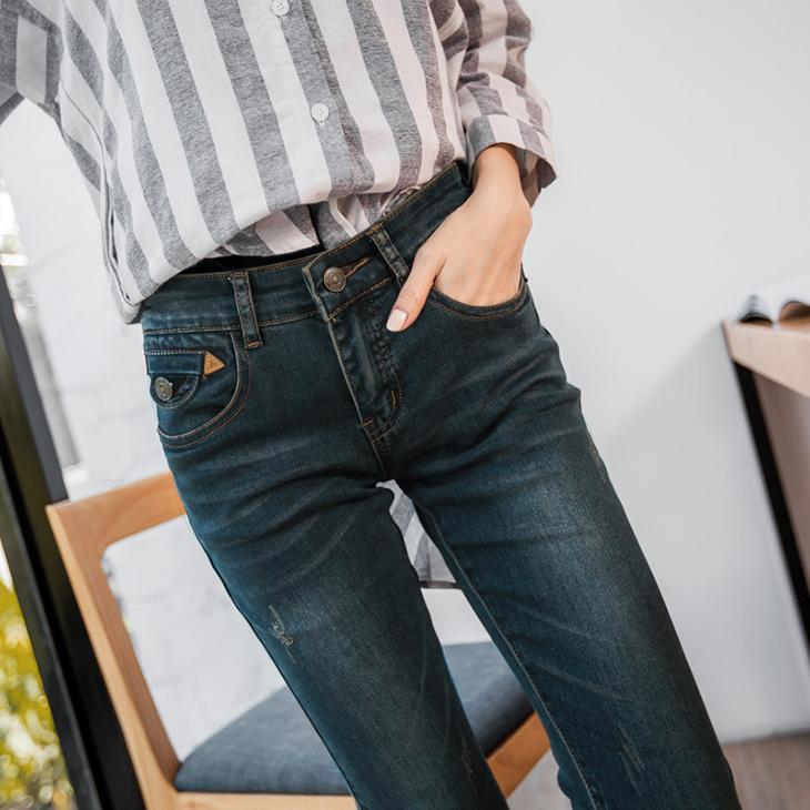 OB嚴選BA1849-漸層暈染設計窄管牛仔褲-適XS~XL