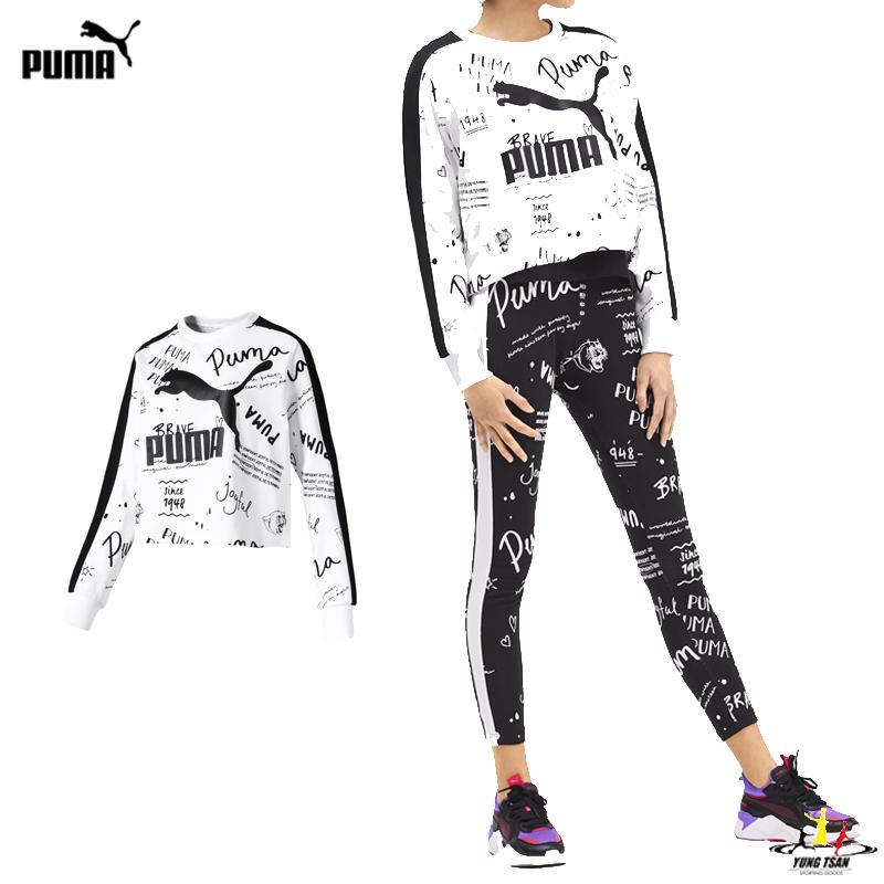 Puma Classics 女 白 長袖 手繪風 圓領衫 長T 棉質上衣 運動 休閒 短版 長袖 59521452