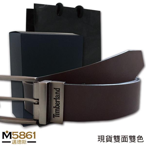 【Timberland】男皮帶 皮帶 雙面雙色 TIMBERLAND字款 銀銅扣頭/黑+咖