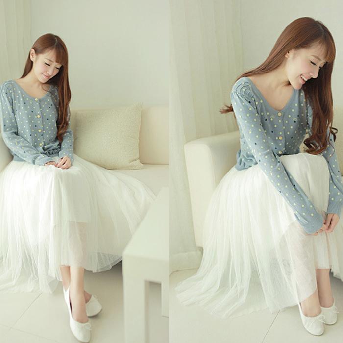 雙層網紗鬆緊腰百褶感長裙 (黑 煙灰 米白)三色售