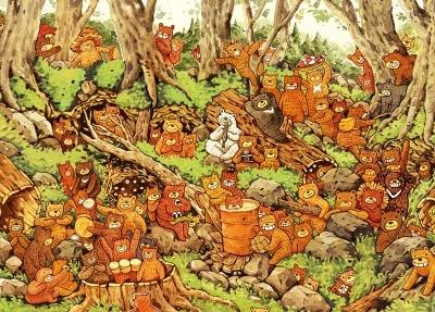 拼圖總動員PUZZLE STORY小熊森林大集合日本進口拼圖AppleOne afu繪畫500P