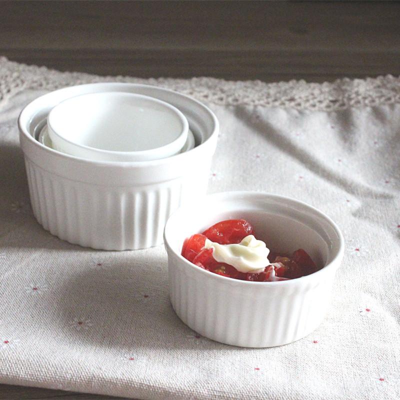 100cc雙耳圓點烘焙烤盅陶瓷杯耐烤布丁杯慕斯杯帶手把瓷烤盅甜品杯小碗