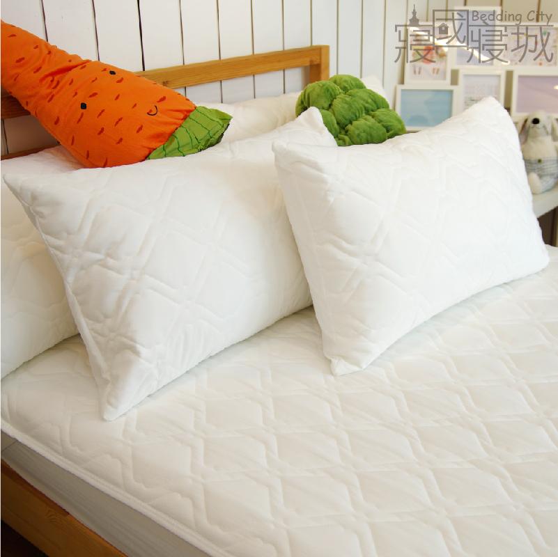 『奈米防污防潑水』枕頭保潔墊(單品)  平鋪式 白色  3層抗污型、可機洗、台灣製 #寢國寢城
