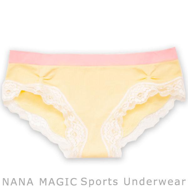 NANA MAGIC彈力無縫系列蕾絲低腰內褲奶黃ML有氧瑜珈運動路跑居家休閒